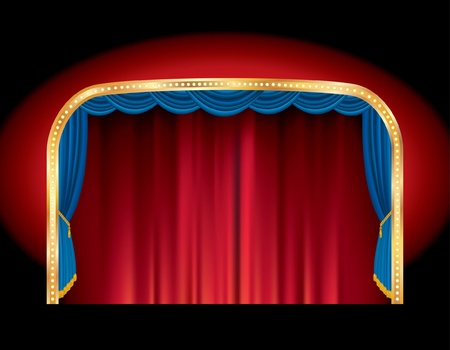 red stage curtain: blank cjnema stage with red and blue curtain and golden frame