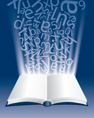 literatures: vector abstract composition with open book and letters