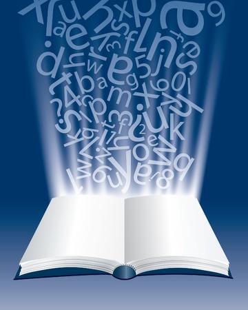 copertina libro antico: vettore composizione astratta con il libro aperto e lettere Vettoriali