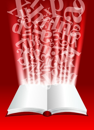 ector abstract composition with open book and letters Vector