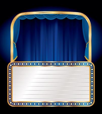 terciopelo azul: vector azul etapa de terciopelo con cartelera en blanco