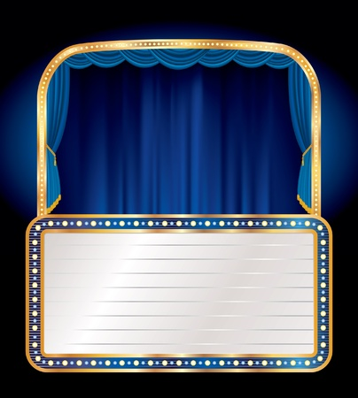 vector blue velvet stage with blank billboard Vector