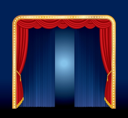 drape: vector stage with golden frame with bulb lamps Illustration