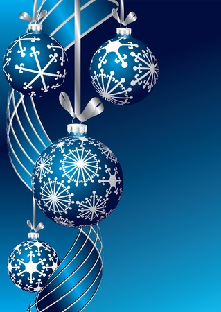 blue sphere: vector blue blank Christmas card Illustration