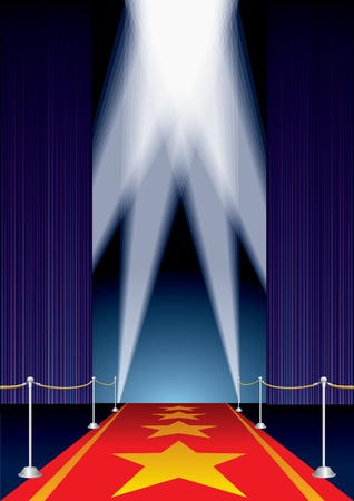 vector opened stage with purple curtain and stars on red carpet Vector