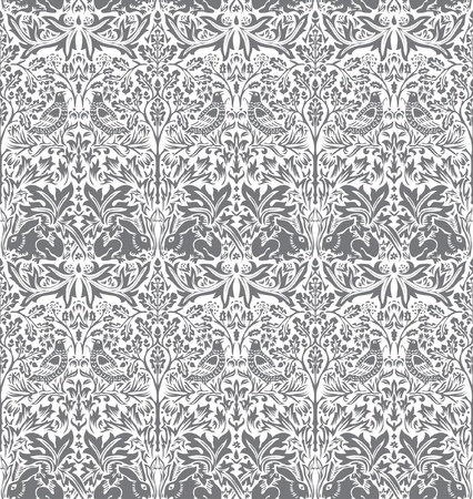 vector hand drawn wallpaper with dove and rabbit Stock Vector - 11330643