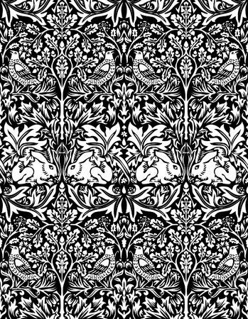 vector hand drawn wallpaper with dove and rabbit Vector