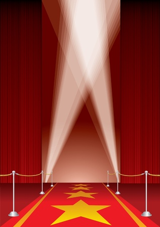 red rug: vector opened stage with red curtain and stars on red carpet