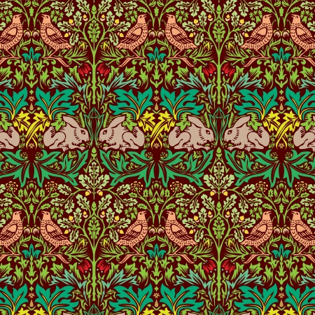 floral carpet: vector color hand drawn wallpaper with dove and rabbit