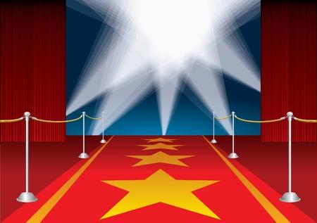 vettore rosso aperto palco con stelle sul tappeto rosso