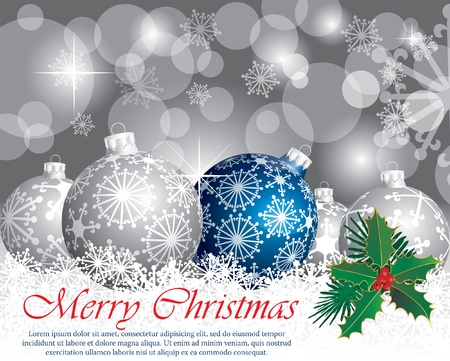 vector Christmas card with silver balls Vector
