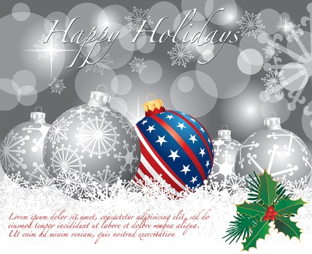 vector Christmas background with USA ball Vector