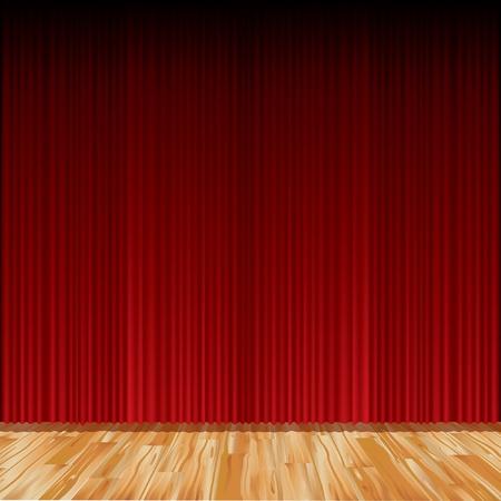 vector empty red stage with parquet floor Vector