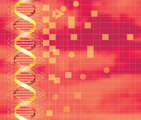 dna graph: vector hot background with abstract DNA graph Illustration