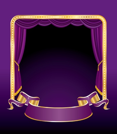 theatrical performance: vector illustration of the purple stage Illustration