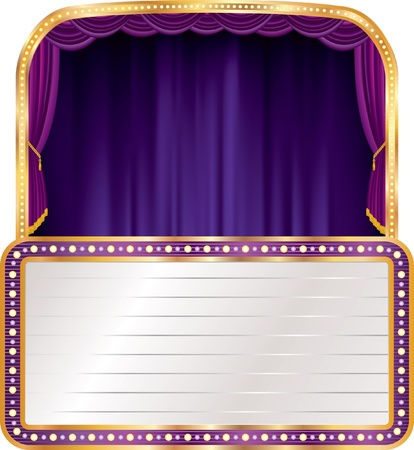 vector purple velvet stage with blank billboard Vector