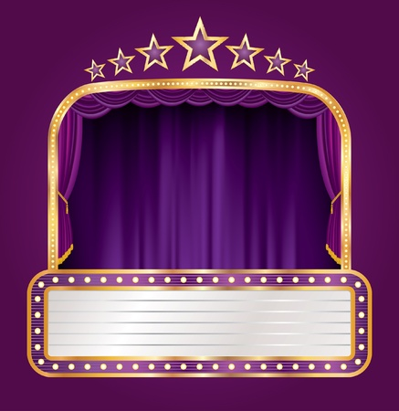 curtain to theater stage: vector purple velvet stage with blank billboard and stars