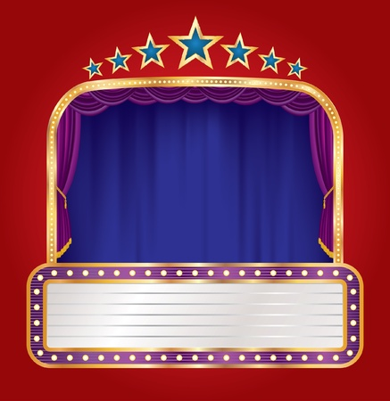 vector blue stage with blank billboard and stars Vector