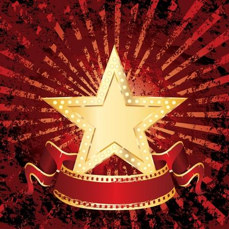 vegas strip: vector blank golden movie star on grunge rays
