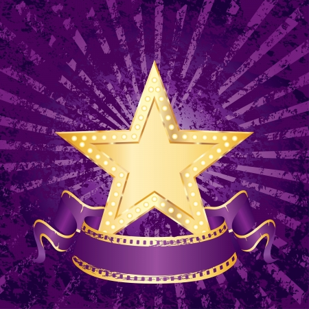 vector blank golden movie star on purple grunge rays Vector