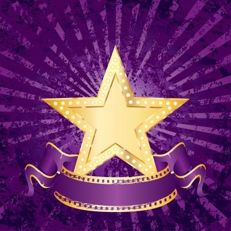 perforation tape: vector blank golden movie star on purple grunge rays