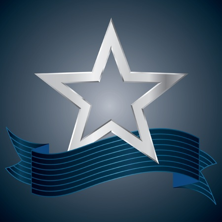 vector silver star with blue striped banner Vector