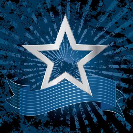 vegas strip: vector silver star on the grunge blue background Illustration