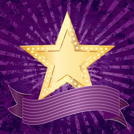 vector background with golden star over purple rays Stock Vector - 11616217