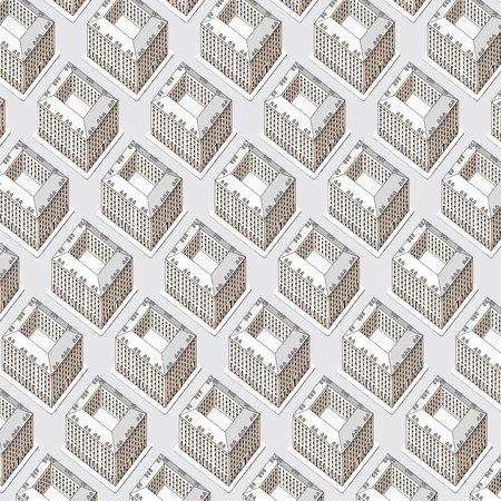burg: vector seamless repeating wallpaper with buildings Illustration