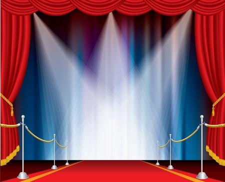 sipario chiuso: tappeto rosso sul palco aperto con tre faretti