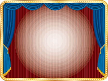 stage with golden frame and radial spotlights Vector
