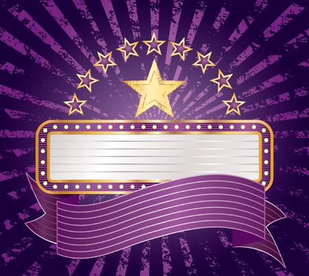 ten purple stars with blank billboard Stock Vector - 11824919