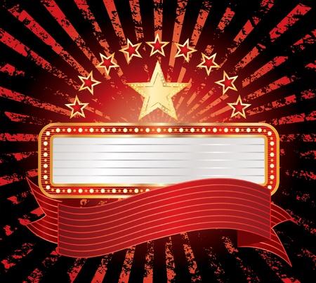 movie sign: diez estrellas con cartelera en blanco Vectores