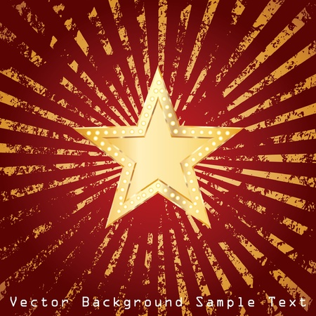 golden star on grunge golden rays Vector