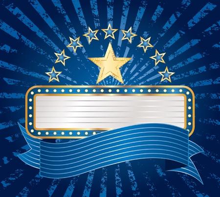 vegas strip: vctor ten stars with blank billboard on blue grunge rays