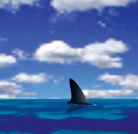 ilustración vectorial de un tiburón en el mar Ilustración de vector