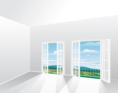 french doors: 3d vector illustration of the empty room with landscape Illustration