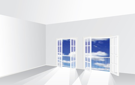 empty room with two french windows Stock Vector - 11902309