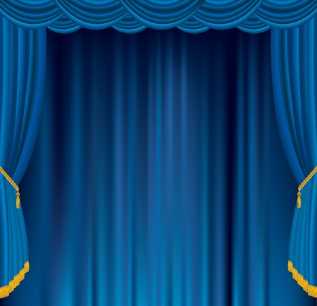 drama: vector empty blue velvet stage Illustration