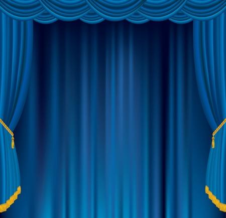 vector empty blue velvet stage Illusztráció