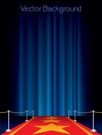 terciopelo azul: vector de fondo con alfombra roja y las estrellas Vectores
