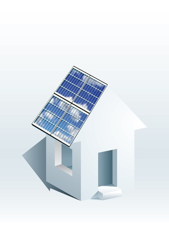 solar panel roof: vector icon of house with solar panels