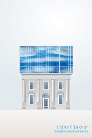 solar heating: vector template with classic house and solar panels