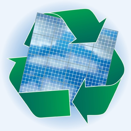 solar collector: vector solar panels with recycling sign Illustration