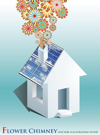 solar equipment: vector simb�lico ilustraci�n con paneles solares y el humo de las flores Vectores