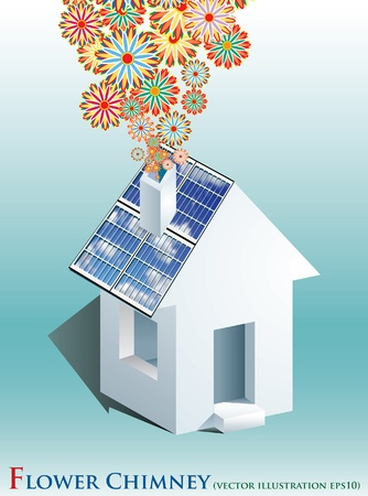 solar roof: vector symbolic illustration with solar panels and flower smoke Illustration