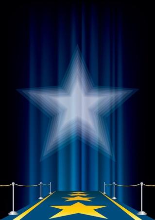 estrellas moradas: vector de fondo de entretenimiento con alfombra azul