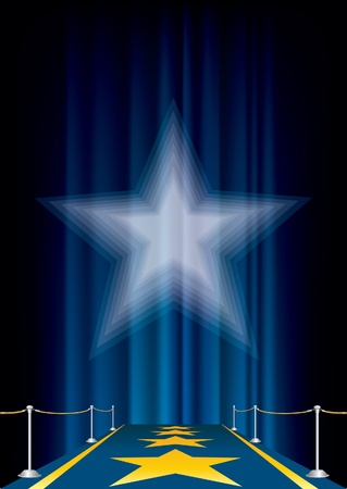 purple stars: vector entertainment background with blue carpet