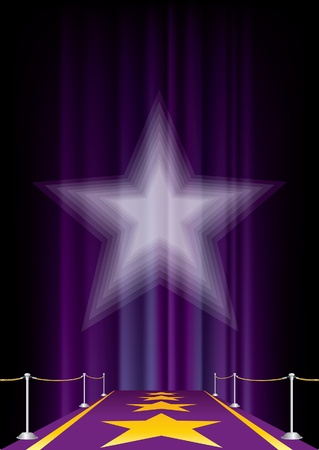 entertainment background with purple carpet Vector