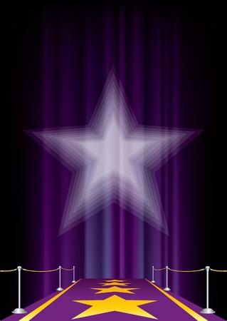 velvet rope: entertainment background with purple carpet Illustration